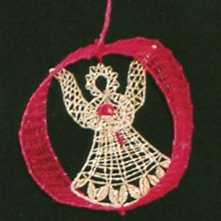 Vánoční ozdoba-Andělíček v kruhu, průměr 5cm